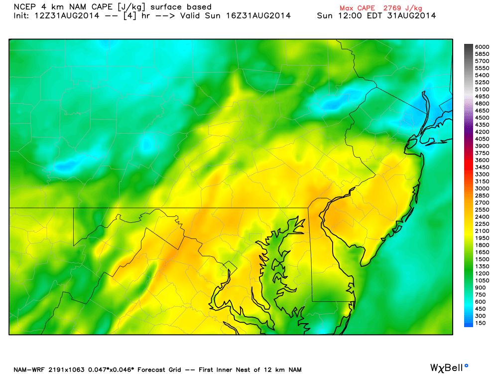 convective available potential energy (CAPE) will increase today with diurnal surface heating