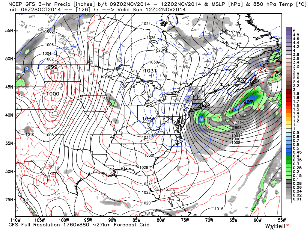 gfs model showing storm