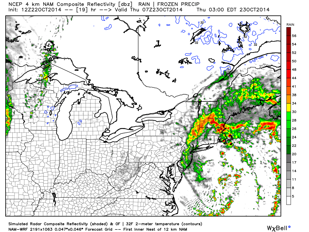 short range guidance NAM october coastal storm