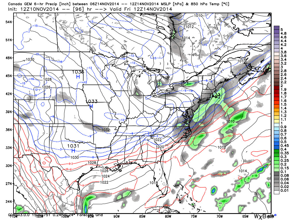 canadian model showing light snow for new jersey