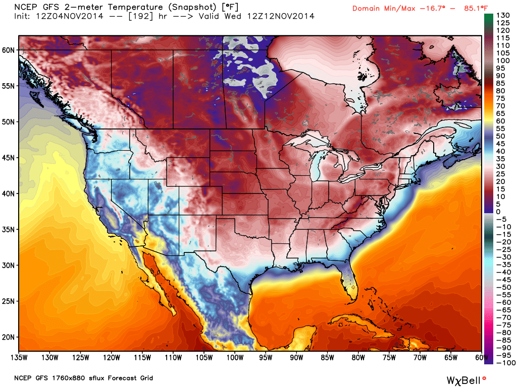 Upgraded GFS showing arctic outbreak for US